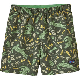 Patagonia Baggies Pantaloncini Bambino, alligators and bullfrogs/kale green